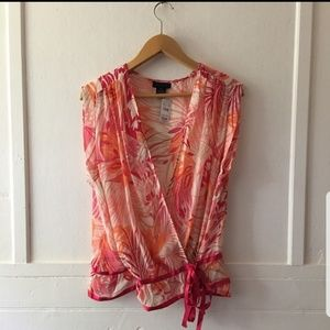 NWT The Limited Sheer Silk Sleeveless Tie Blouse